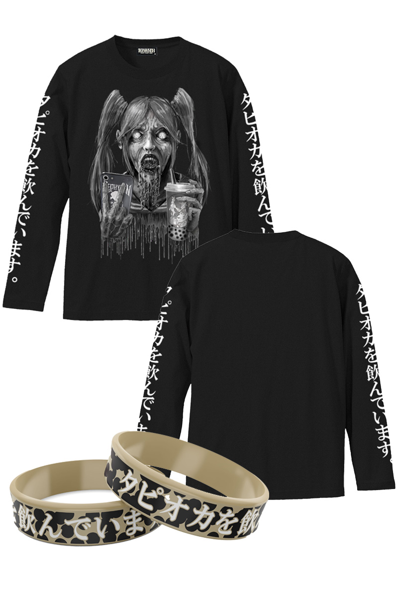 タピオカを飲んでいます。L/S TEE - BLACK - & RUBBER BRACELET SET