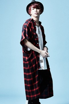 【予約商品】LONG CHECK SHIRT S/S RED