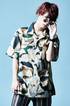 OPEN COLLAR  BIG SHIRT S/S BEIGE / CAMO