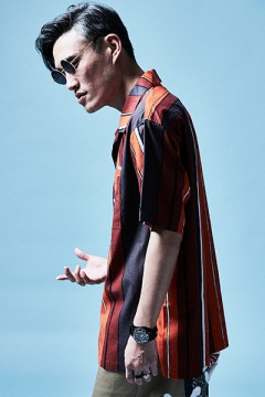 OPEN COLLAR  BIG SHIRT S/S ORANGE / STRIPE