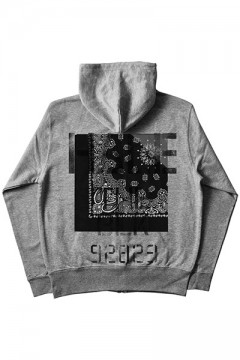 ZIP PARKA -Inhale the black- GRAYxBLACKHOOD