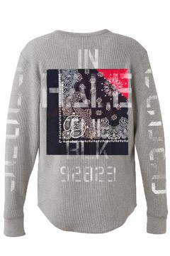 WAFFLE L/S -Inhale the black- GRAY