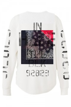 WAFFLE L/S -Inhale the black- WHITE