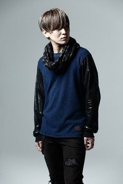 SWITCHING SLEEVE KNIT NAVY