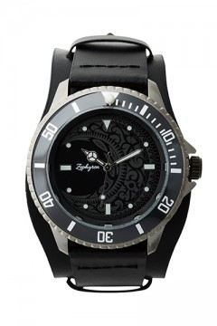 LEATHER WATCH - MOON - BLACK