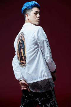 COACH JACKET -PRAY / PRAYING HAND- WHITE/PRAY