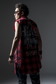 BANDANA LONG SHIRT N/S-Inhale the black- RED