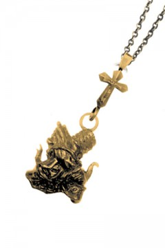 METAL NECKLACE-Sing as pray- ANTIQUE GOLD