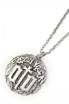 METAL NECKLACE-ENGRAVE- ANTIQUE SILVER