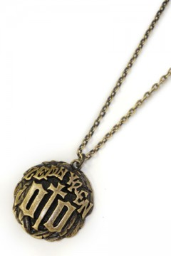 METAL NECKLACE-ENGRAVE- ANTIQUE GOLD