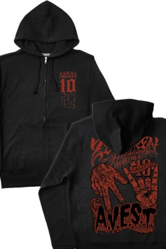 ZIP PARKA -melt hand- BLACK×RED