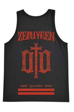 TANK TOP -ENGRAVE- BLACKxRED