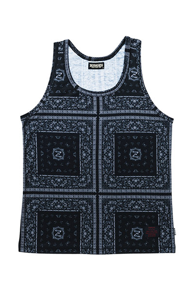PAISLEY TANK TOP BLK/GRY