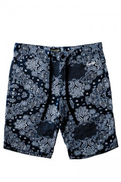 MODAL PAISLEY SWEAT SHORTS NVY