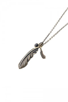 METAL NECKLACE -FEATHER- ANTIQUE GOLDxBLACK