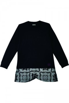 Zephyren (ゼファレン) SWITCHING TEE L/S BLACKxPAISLEY