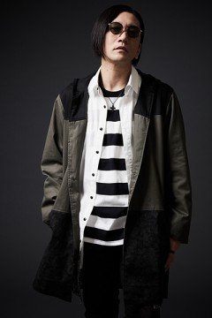HOOD LONG COAT BLACK / KHAKI