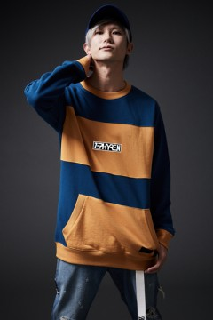 MIX BIG SWEAT NAVY / MUSTARD
