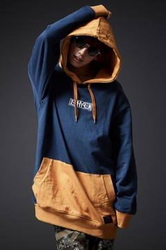 MIX BIG PARKA NAVY/MUSTARD