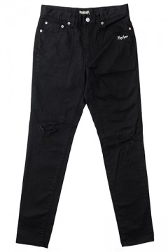 KNEE CLASHED SKINNY BLACK
