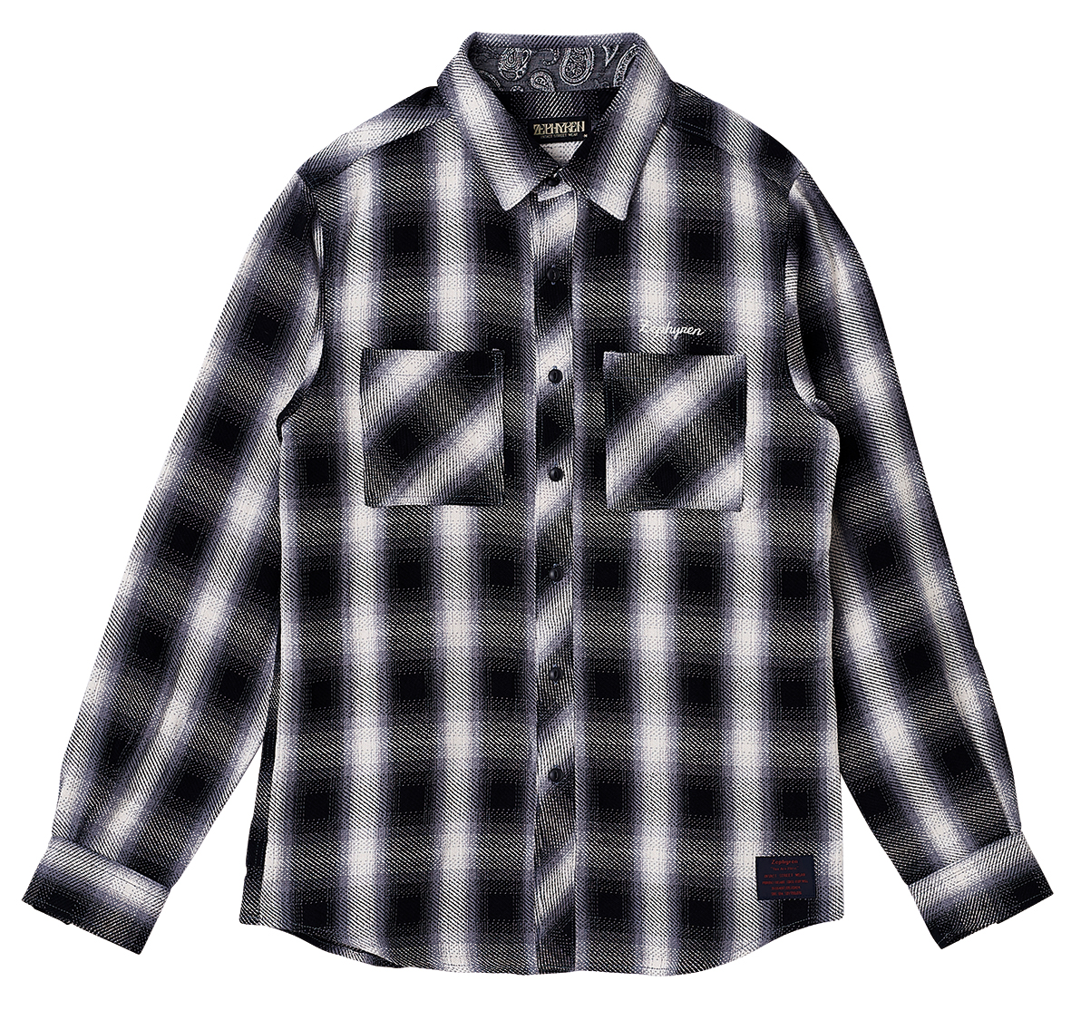 CHECK SHIRT L/S - Resolve -  BLACK / WHITE