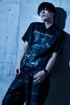 【予約商品】Zephyren  PHOTO PRINT SHIRT S/S - NEVER say NEVER - BLACK / PAISLEY
