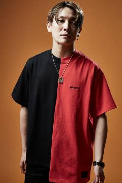 SWITCHING TEE S/S BLACK / RED