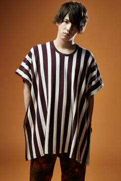PONCHO BIG STRIPE TEE S/S WHITE / BURGUNDY
