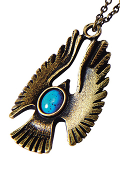 METAL NECKLACE -HAWK- ANTIQUE GOLD / TURQUOISE