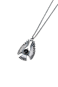 METAL NECKLACE -HAWK- ANTIQUE SILVER/BLACK