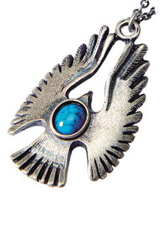 METAL NECKLACE -HAWK- ANTIQUE SILVER/TURQUOISE