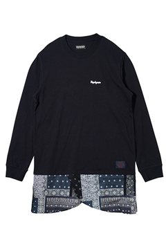 SWITCHING TEE L/S BLACK/BLACK.BANDANNA