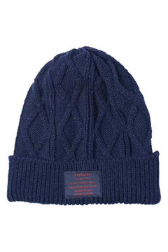 CABLE KNIT BEANIE -You Are Here- NAVY