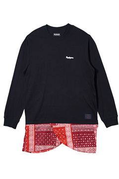 SWITCHING TEE L/S BLACK/RED.BANDANNA