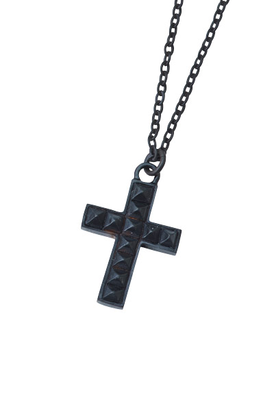 METAL NECKLACE - STUDS CROSS - BLACK