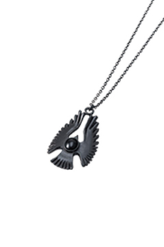 METAL NECKLACE - HAWK - BLACK