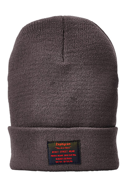 【予約商品】Zephyren(ゼファレン) LONG BEANIE -You Are Here- CHACOAL