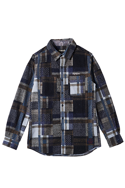 MIX CHECK SHIRT L/S -Resolve- NAVY
