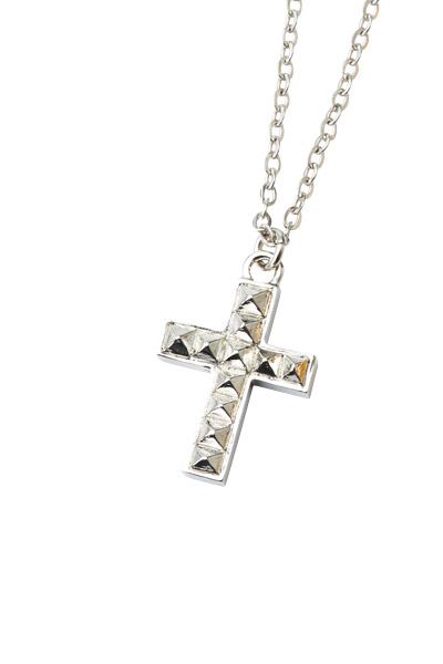 METAL NECKLACE -STUDS CROSS- SILVER