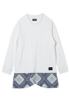 【予約商品】Zephyren(ゼファレン) SWITCHING TEE L/S WHITE/CHECK