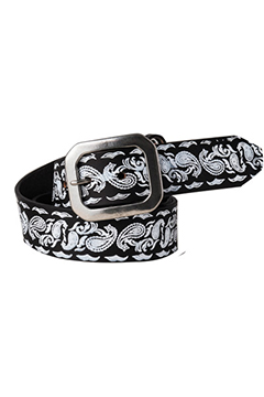 【予約商品】Zephyren PAISLEY LEATHER BELT BLACK