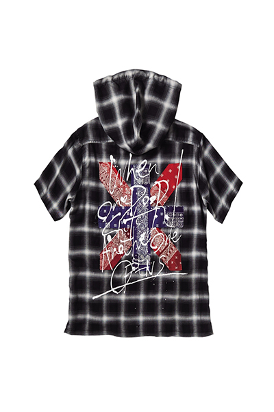 【予約商品】Zephyren BANDANA HOOD SHIRT S/S -DOOR- BLACK CHECK