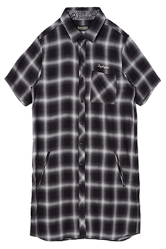 LONG SHIRT S/S -Resolve- BLACK CHECK