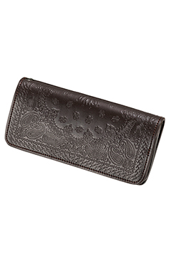 PAISLEY LEATHER WALLET BROWN