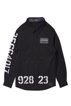 EMBLEM SHIRT L/S BLACK / oldschool