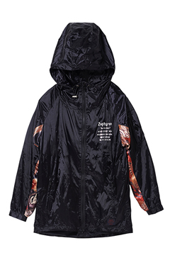 NYLON  HOOD BLACK / ORANGE