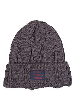 CABLE KNIT Beanie -You Are Here CHARCOAL