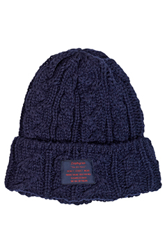 CABLE KNIT Beanie -You Are Here NAVY