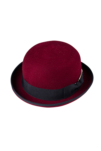 FELT BOWLER HAT RED