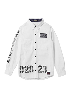 EMBLEM SHIRT L/S WHITE / oldschool